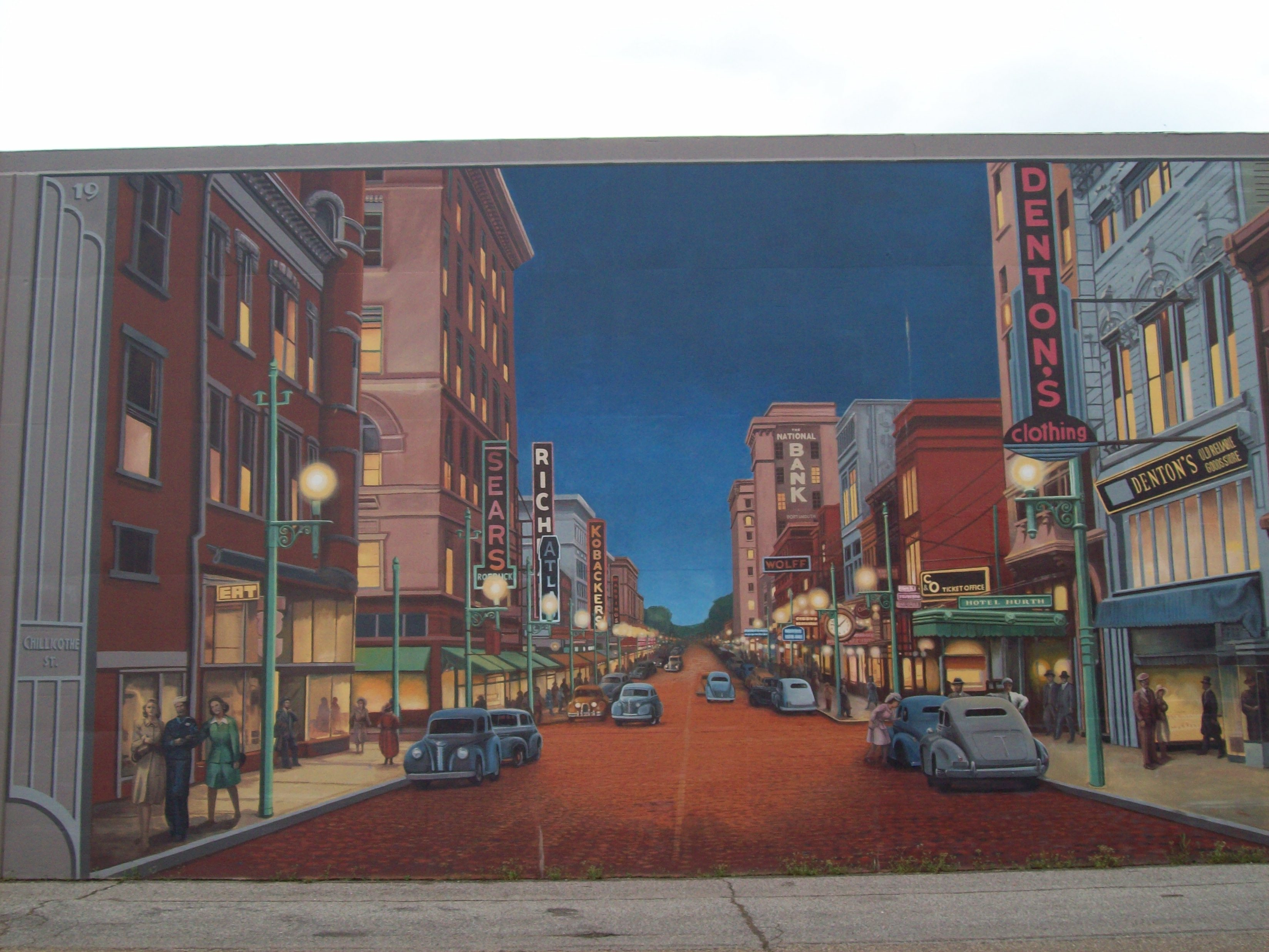 Portsmouth, OH floodwall mural: Chilcothe Street