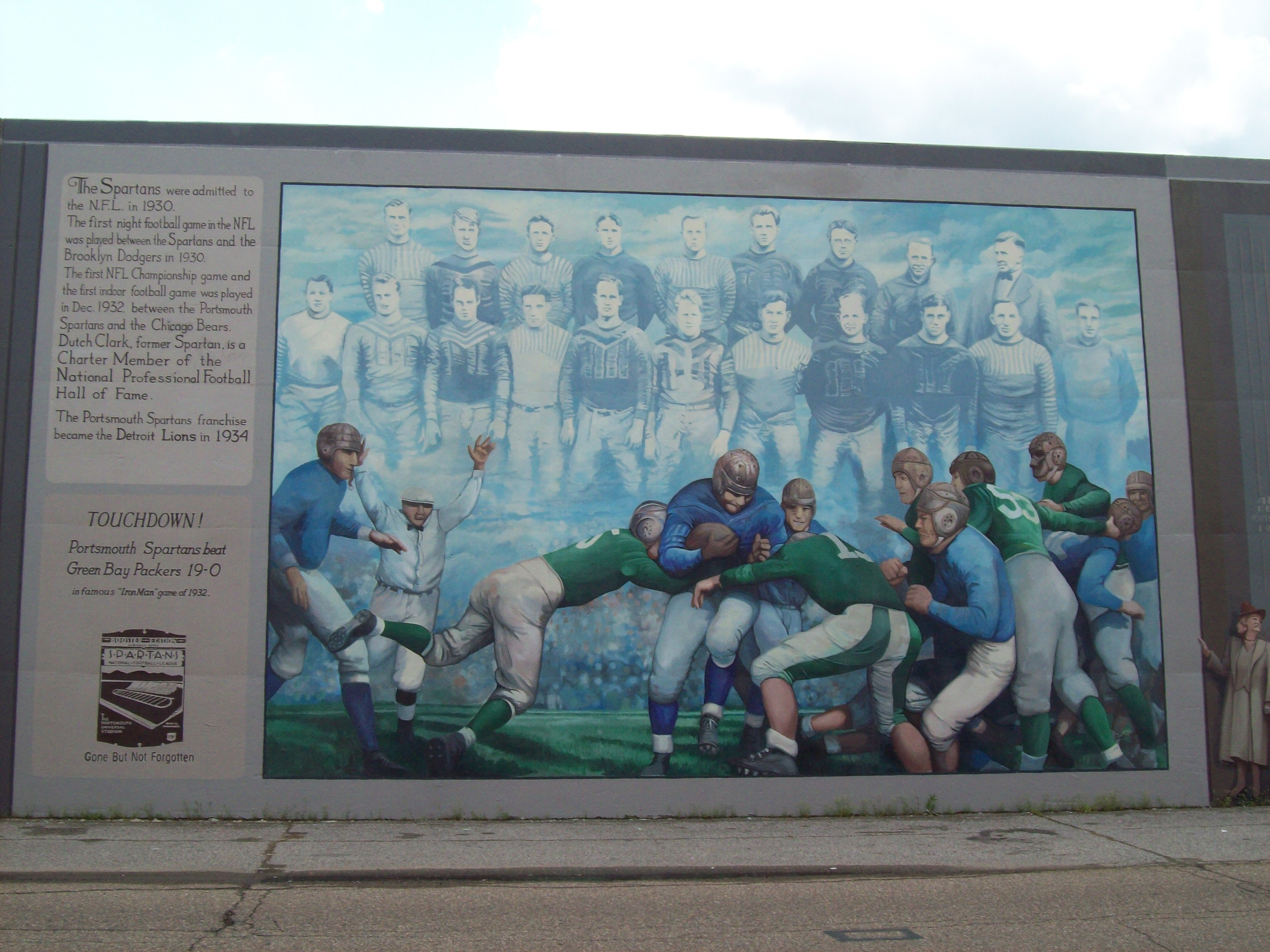 Portsmouth, OH floodwall mural: Portsmouth Spartans